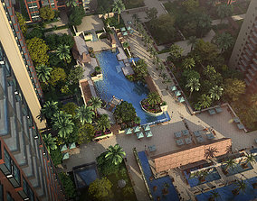 Residential community courtyard 017 3D model