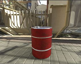 High Poly Oil Barrel 3D Model with baked Textures