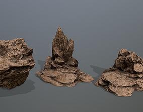 3D model VR / AR ready Rock set moss