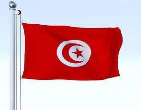 Animated Tunisia Flag 3D asset