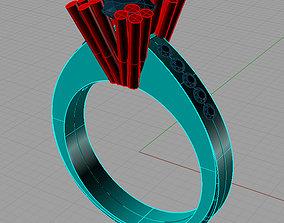 Solitaire Round diamond Anello 3D print model 2