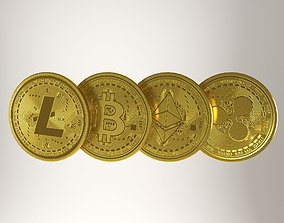 3D asset Crypto coin SET - bitcoin - ethereum - ripple -