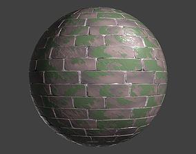 3D Stylized PBR Mossy Brick Seamless