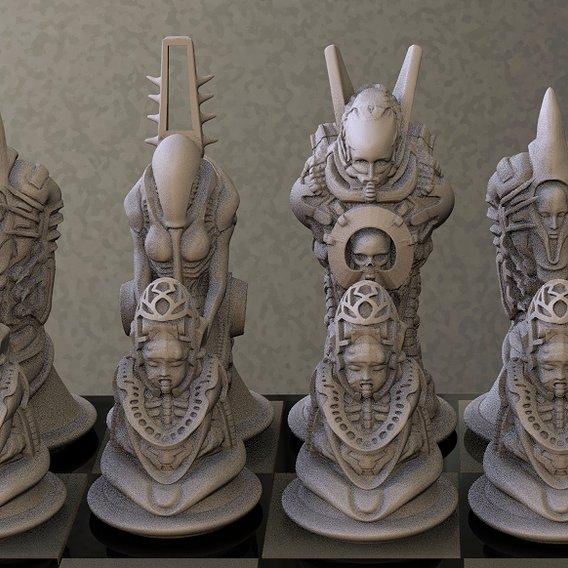 Biomechanic Chess set for 3d Print