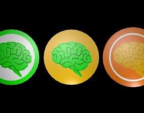 Low poly brain symbol 18 3D asset