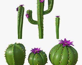 Cartoon cactuses asset 3D model