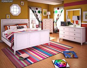 3D asset Ashley Caspian Panel Bedroom Set