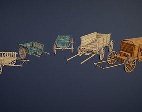 low-poly Wooden Carts modular asset pack