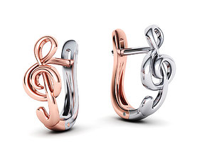 Unique Earrings Musical Note Treble Clef 3D print model 1