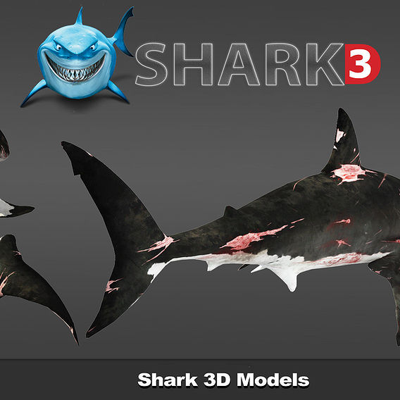 Shark 3D models 2017 PBR game Ready low poly