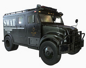 3D model SWAT Van Game Ready PBR Textures