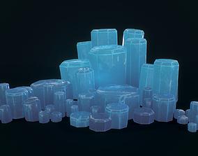 Crystals Cyl 8 pcs 3D asset VR / AR ready