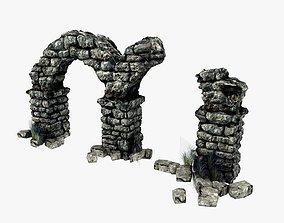 Ancient columns with arch ruins 3D asset