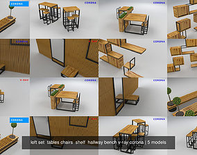 loft set tables chairs shelf hallway bench v-ray 3D