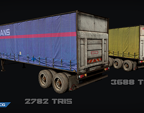 low-poly Trailer Low-poly game ready 3D model lorry