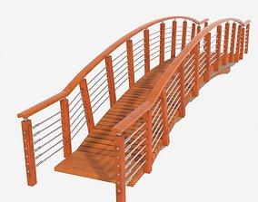 3D model low-poly Small Wooden Pedestrian Bridge