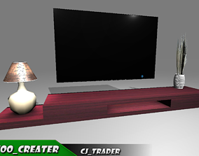 TV Table low poly furniture 3d model low-poly century