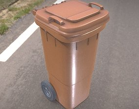 Brown plastic waste bin 60 liters 936x550x482 3D asset