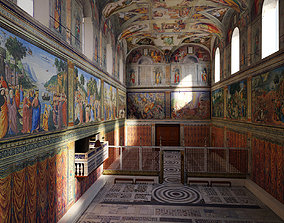 3D model low-poly Sistine Chapel Interior Low Poly