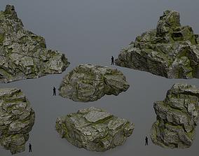 3D model game-ready mossy rocks