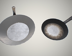 Iron frying pans 3D model low-poly