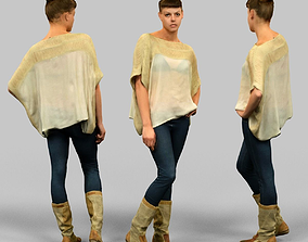 3D model Girl in white top and boots