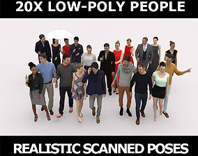 3D model 20x LOW POLY CASUAL ELEGANT PEOPLE CROWD