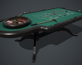 Roulette table PBR 3D asset game-ready