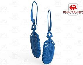 jewellery 3D print model Feather earrings