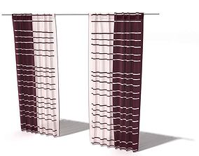 Striped Red And White Curtains 3D