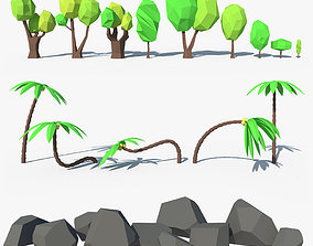 Low poly Trees Palms Stones 3D model