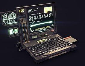 3D asset Lowpoly Game Ready Cyberpunk Laptop