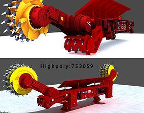 3D model low-poly Coal Mining Machine