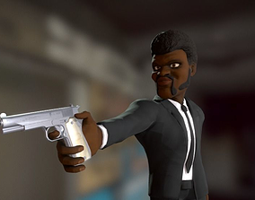 3D model Samuel L Jackson with 9mm pistol