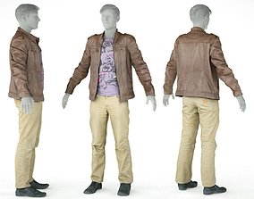 Male Casual Outfit 38 Jacket Shirt Pants Footwear 3D model
