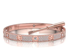 Classic Diamond Oval Bracelet 3d model Diamond
