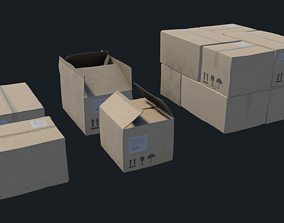 Cardboard boxes 3D model game-ready PBR
