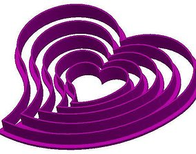 3D print model Set of hearts cookie cutters