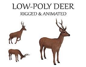 animated deer stag elk 3D asset