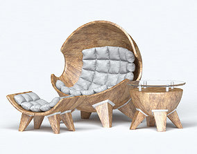 Armchair ball with ottoman and table 3D