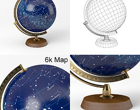 3D model Celestial Globe with Wooden Stand and Brass 3