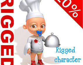 Chef baby Cartoon Rigged 3D