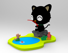 3D print model CHOCOCAT PESCANDO Amigo Hello Kitty