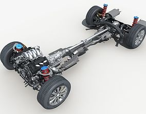wheel Car Chassis with Engine 3D model