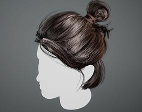 Realtime Female Hair - Bun Middle 3D asset