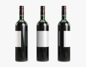 3D model Red wine bottle alcohol