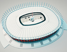 National Arena in Warsaw Poland 3D model rigged