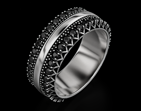 Stylish wedding rings with diamonds 618 3D printable model