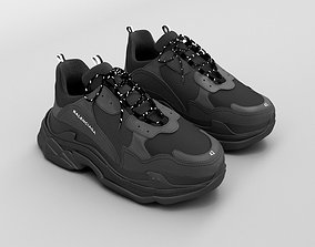 balenciaga triple s black 3D model