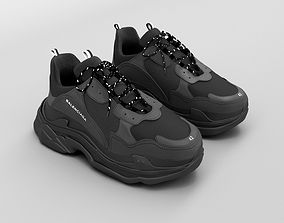 3D model balenciaga triple s black